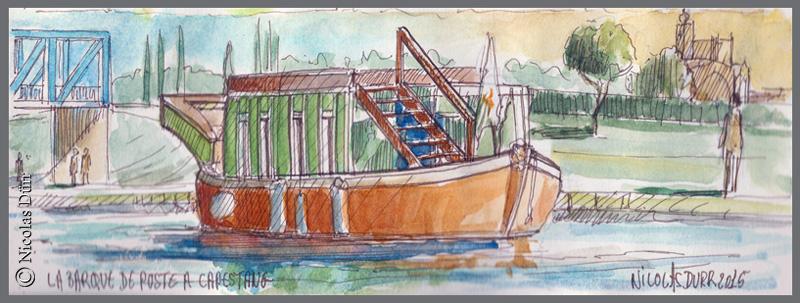 La barque de poste 1818 en aquarelles,2015