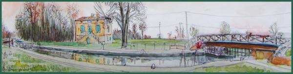 Le Canal de Montech : étape graphique sur l'écluse de Mortarieu, mars2014