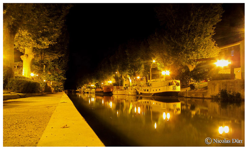 Le Canal de la Robine : randonnée photographique et graphique nocturne à Narbonne en août2015