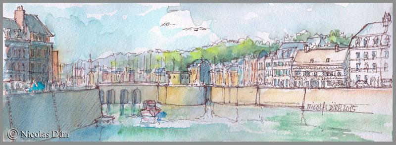 Une agréable journée de fin d'été en aquarelles à St Valery en Caux en septembre2015