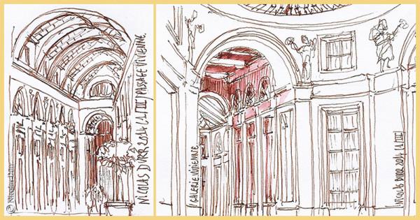 Étape graphique sur la Galerie Vivienne, mars2014