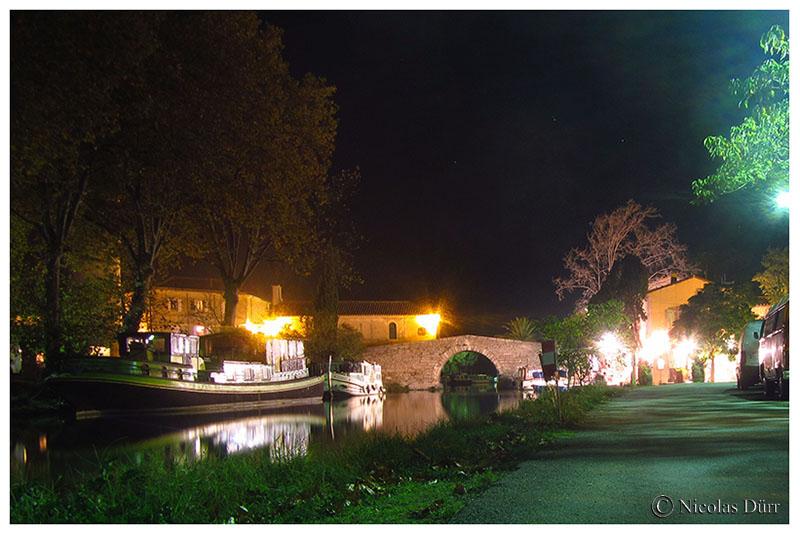 Le Canal du Midi, étape photographique nocturne au Somail, en automne2016