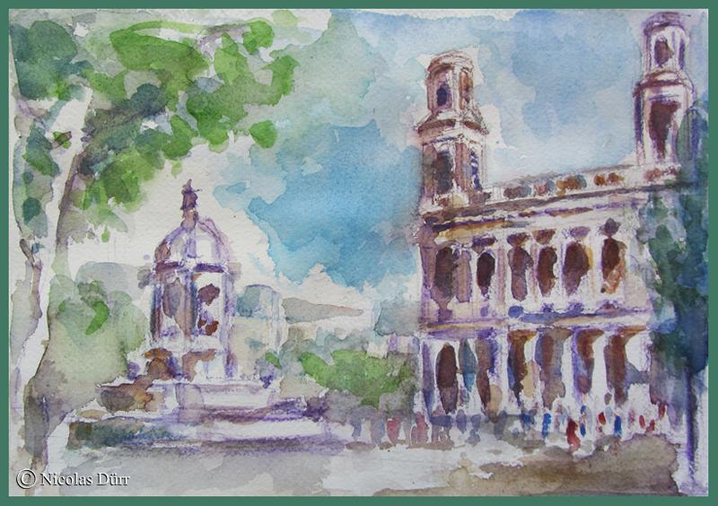 Une matinée aquarelle sur la Place st Sulpice, à Paris en octobre2011