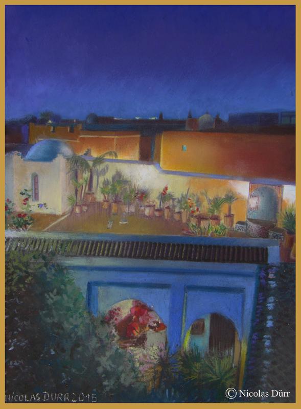 Aquarelles et pastels au Riad Sahara Nour, Marrakech, 2013 et2015