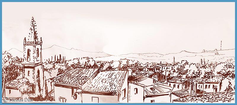 Randonnés graphiques en Provence, août 2017 (ensépia)