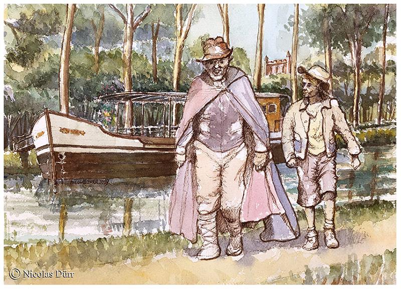 aquarelle-Rémi-Sans-Famille-Canal-du-Midi-r-c