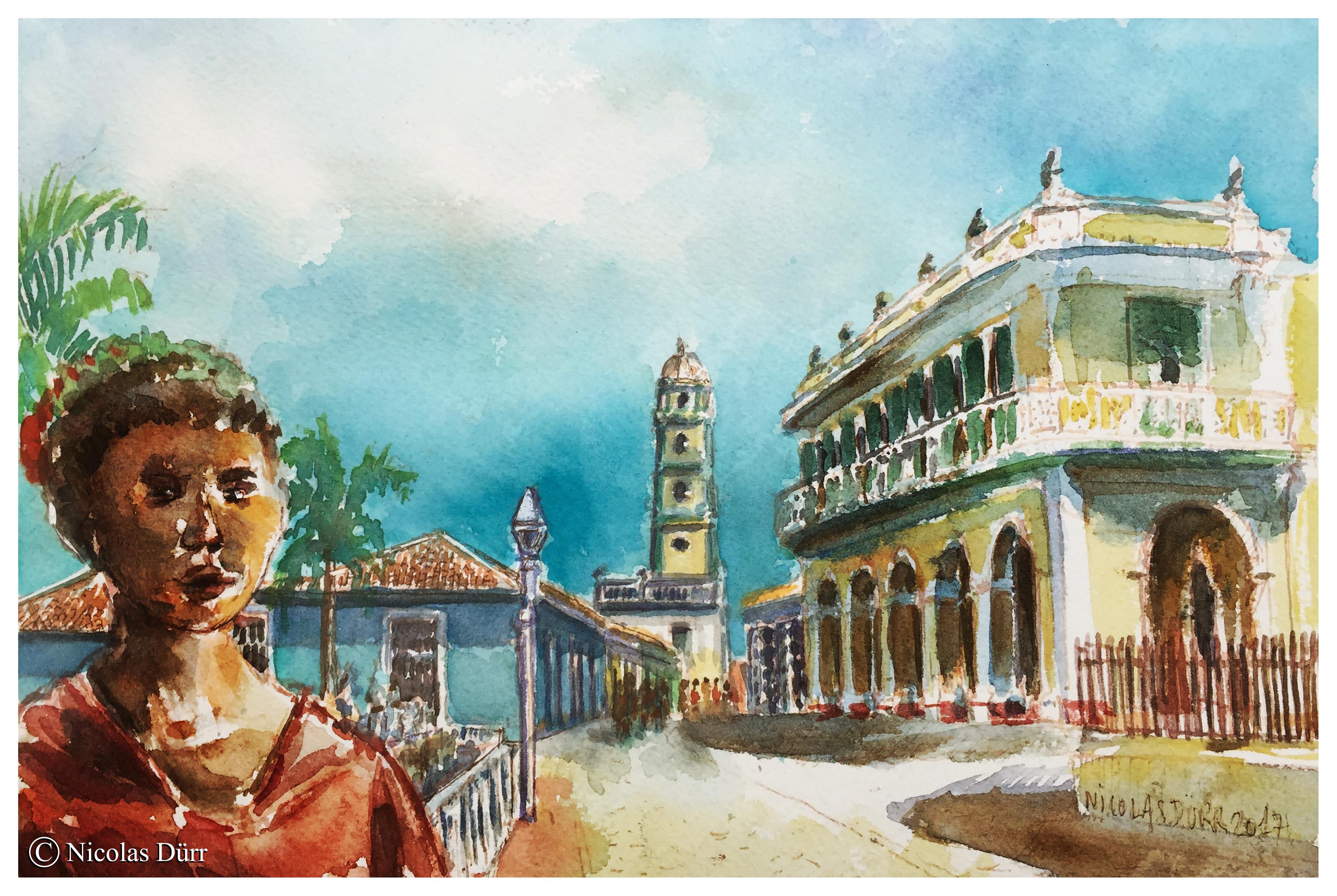Cuba-01-Trinidad-Plaza-Mayor-(2)-aquarelle